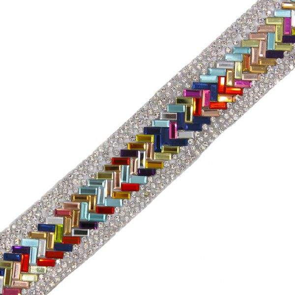 1 metre x 29mm multicoloured herringbone crystals
